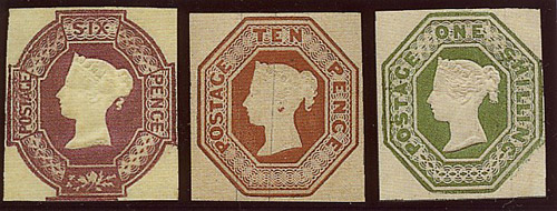 The embossed adhessive stamps 1847-1854